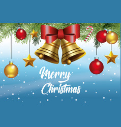 merry christmas card with bells and balls hanging vector image