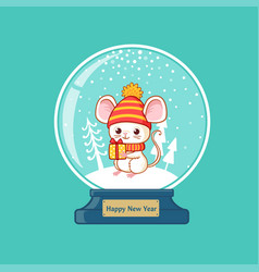merry christmas glass ball with cute little mouse vector image