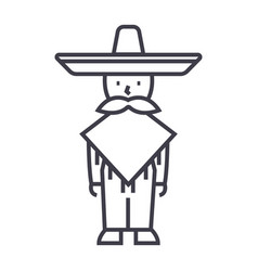 mexican manmariachi line icon sign vector image