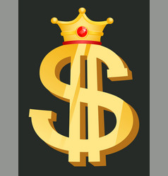 Money symbol with crown golden dollar vector