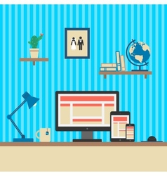 Office workplace responsive web design concept vector