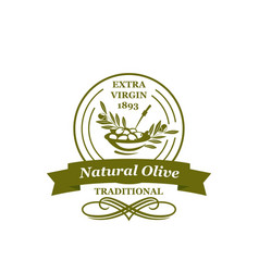 Olives icon for extra virgin olive oil vector