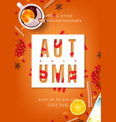 orange beautiful flyer for autumn sale vector image