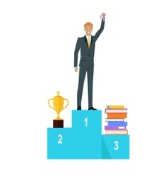Person standing on winners podium vector