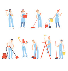 professional cleaners with cleaning equipment vector image