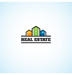 Real estate houses on the land vector