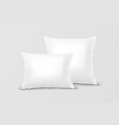 realistic 3d white pillow set closeup vector image