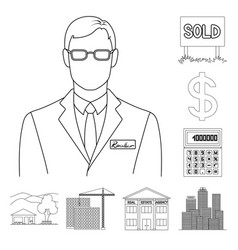 realtor agency outline icons in set collection vector image