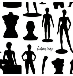 Retail window display black realistic fashion body vector