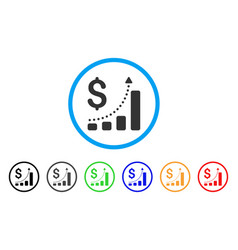 sales growth rounded icon vector image