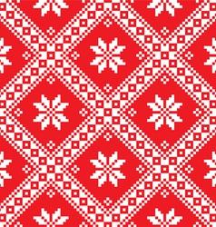 Seamless Ukrainian Slavic folk art red embroidery vector image
