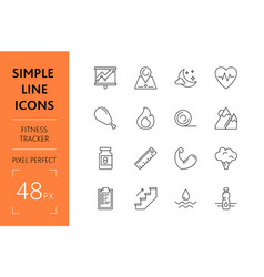set fitness tracker simple lines icons healthy vector image