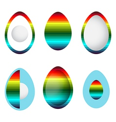 set of abstract rainbow eggs vector image