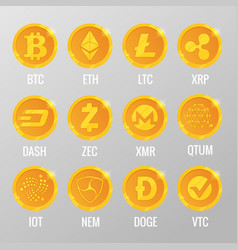 Set of cryptocurrency gold coins with vector