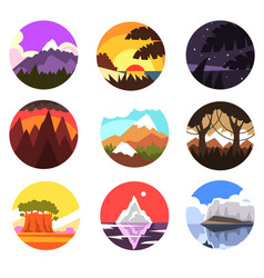 set of wild nature round landscape tropical vector image