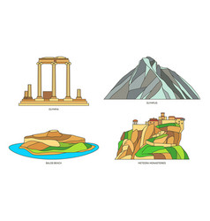 Set signs for greece or greek natural monuments vector