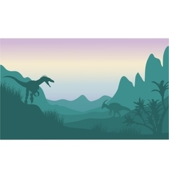 Silhouette of eoraptor and parasaurolophus vector