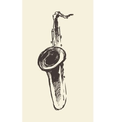 Sketch saxophone retro style drawn vector image