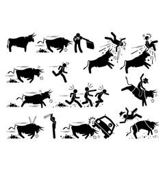 Spain bullfight and bull run event pictograph vector