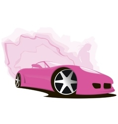 Sports pink car vector
