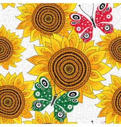 Spring seamless pattern with sunflowers vector image