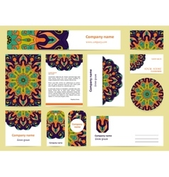 Stationery template design with blue mandalas vector