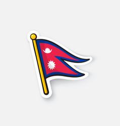 sticker flag nepal on flagstaff vector image