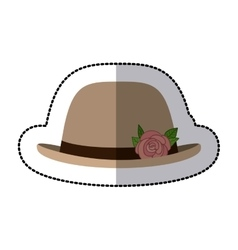 Sticker lace hat roses bowler retro design vector
