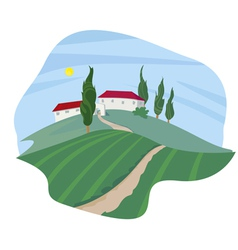 Summer Landscape with cypresses vector