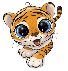 Tiger creeping up isolated on a white background vector