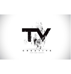Tv t v grunge brush letter logo design in black vector