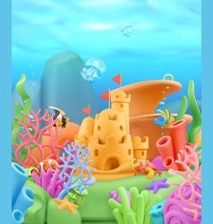 underwater world landscape 3d cartoon background vector image