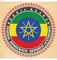 Vintage label cards of Ethiopia flag vector