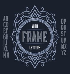 vintage label template in patterned frame vector image