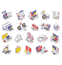 web hosting isometric icon set vector image