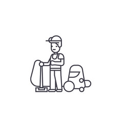 welder and accessories line icon sign vector image
