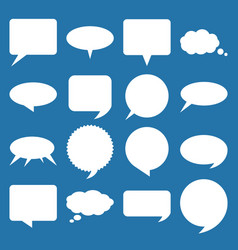 white flat speech and think bubbles set vector image