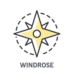 windrose icon with compass rose linear vector image
