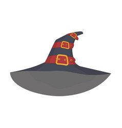 witchs hat with red straps and gold plaques vector image