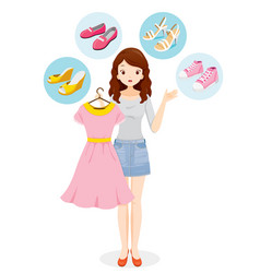 Woman decide selecting shoes for clothing vector