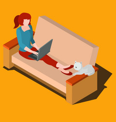 woman working on laptop isometric vector image