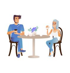 young man woman talking at cup of tea vector image
