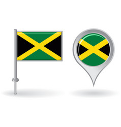 Jamaican pin icon and map pointer flag vector image vector image