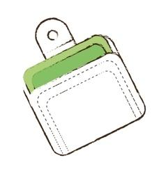 sketch wallet money cash currency vector image