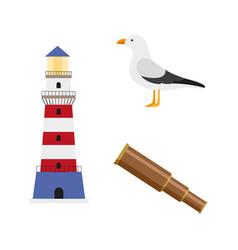 vecotr flat cartoon nautical marine symbols set vector image