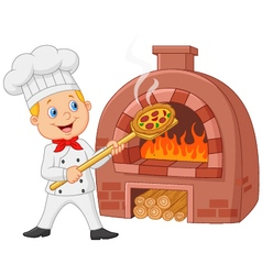 Cartoon chef holding hot pizza with traditional ov vector image