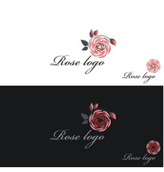 rose logo clipart white and black vector image vector image