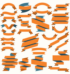 set of orange and blue flat ribbons vector image vector image
