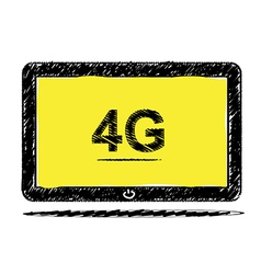Tablet computer with 4G sketch design vector image vector image