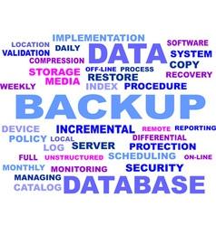word cloud backup vector image vector image
